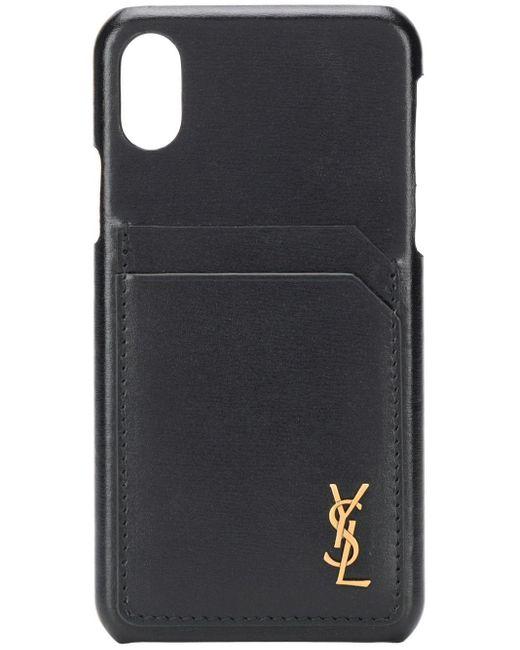 メンズ Saint Laurent ロゴプレート Iphone Xs ケース Black