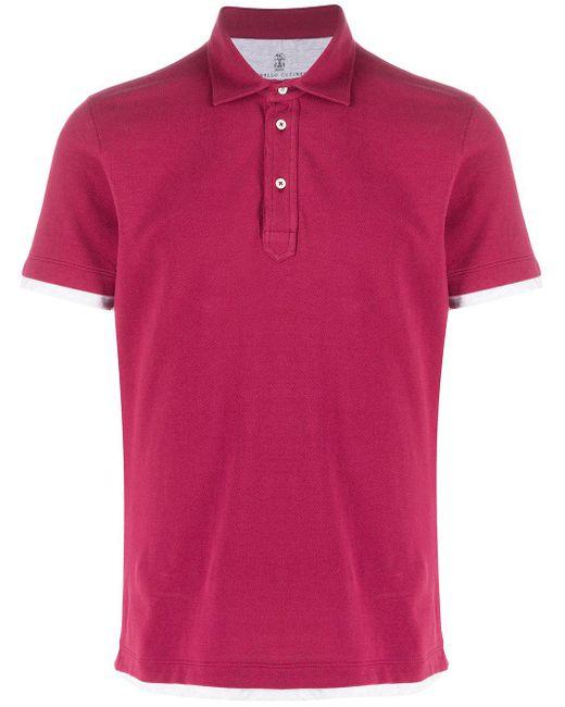 メンズ Brunello Cucinelli レイヤード ポロシャツ Pink