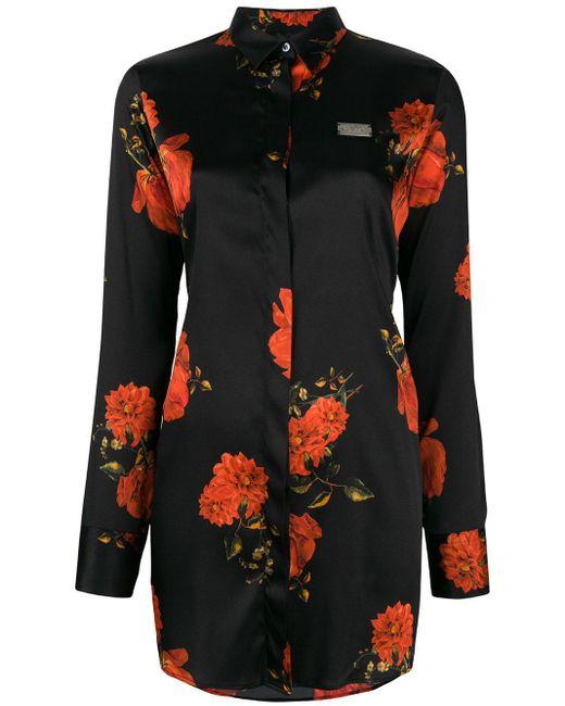 Philipp Plein Black Floral Shirt