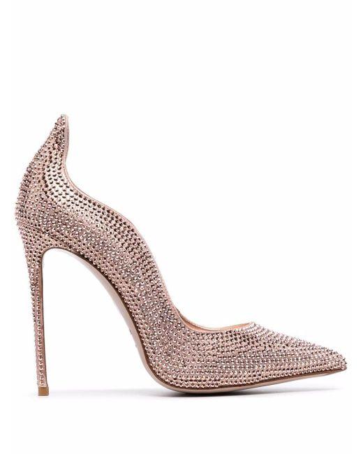 Le Silla Pink Ivy Crystal-embellished Leather Pumps