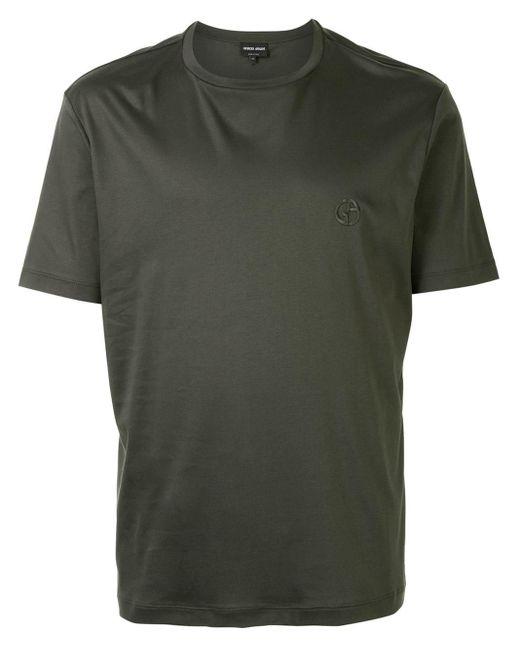 メンズ Giorgio Armani ロゴ Tシャツ Green