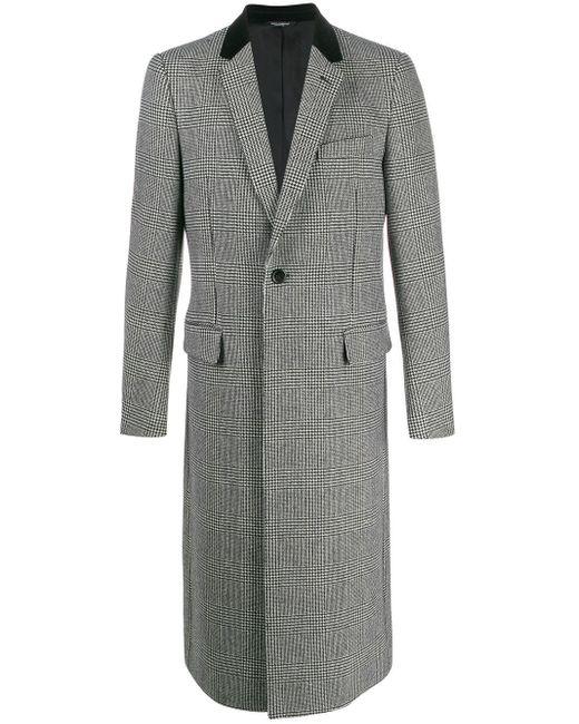 メンズ Dolce & Gabbana ハウンドトゥース シングルコート Gray