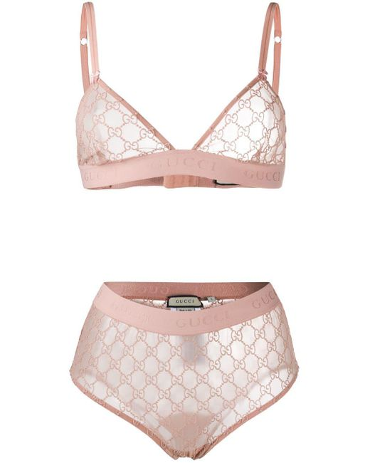 Gucci Pink GG Embroidered Lingerie Set