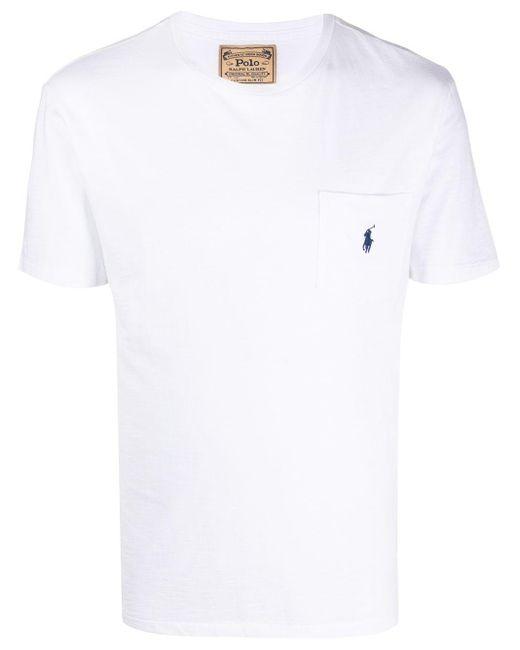 メンズ Polo Ralph Lauren パッチポケット Tシャツ White