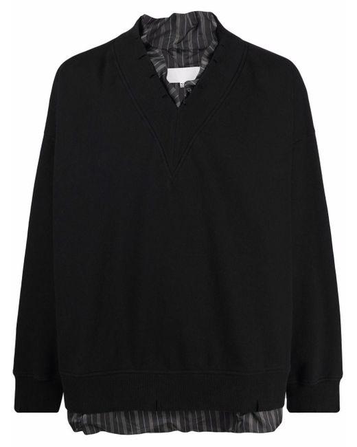 メンズ Maison Margiela レイヤード スウェットシャツ Black