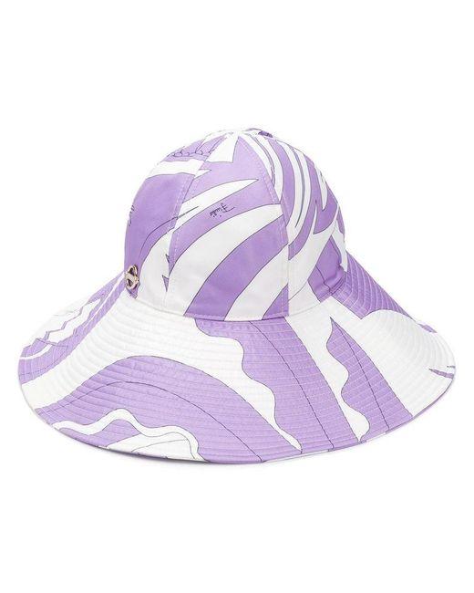 Emilio Pucci - White Sombrero de ala ancha con diseño colour block - Lyst