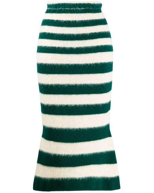 Marni Green Striped Mid-length Skirt