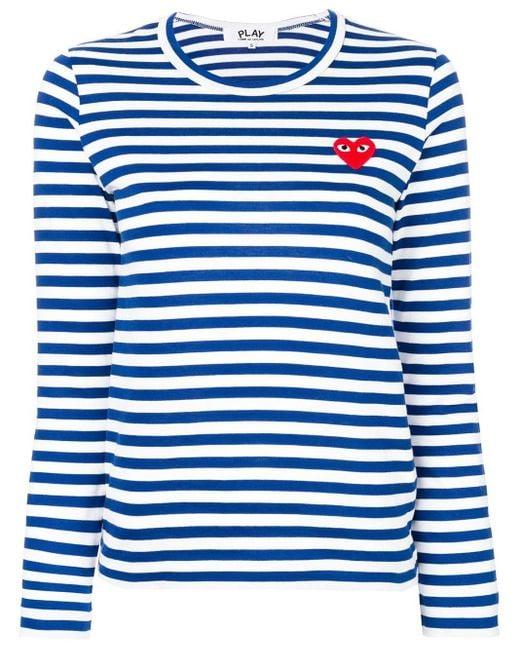 COMME DES GARÇONS PLAY ハート ボーダーtシャツ Blue