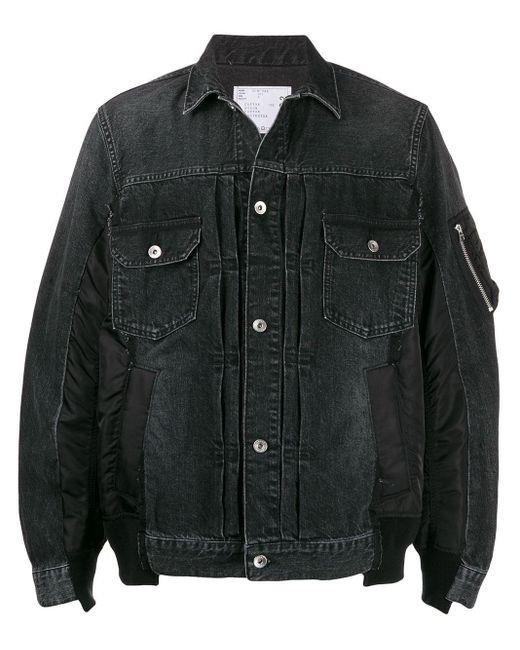 メンズ Sacai パッチワーク デニムジャケット Black