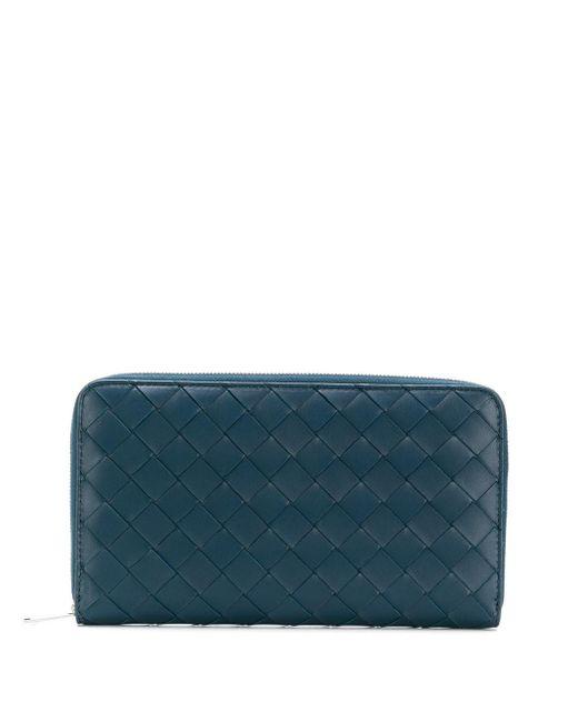 メンズ Bottega Veneta イントレチャート ファスナー財布 Blue