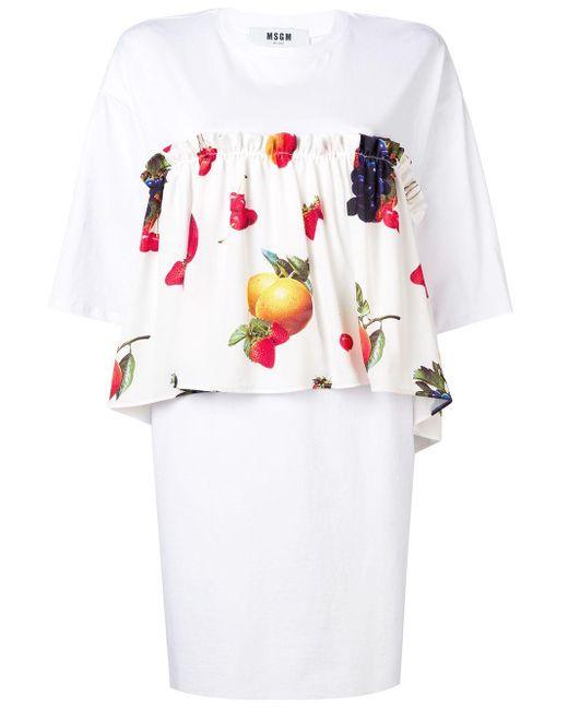 MSGM プリント ドレス White