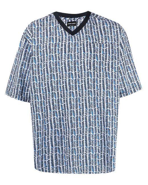 メンズ Giorgio Armani プリント Vネックtシャツ Blue