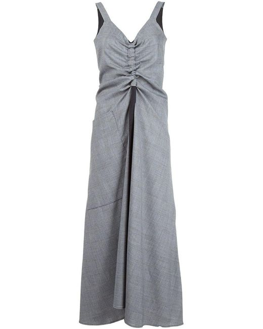Ellery | Gray Draped Chest Wool-Blend Dress | Lyst