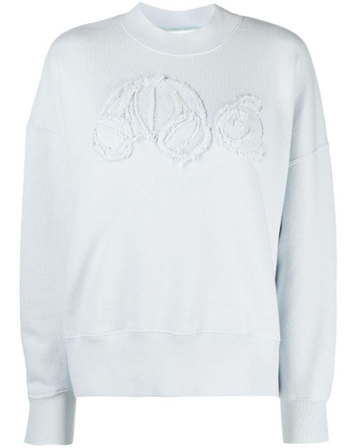 Palm Angels Blue Sweatshirt mit Teddy-Motiv