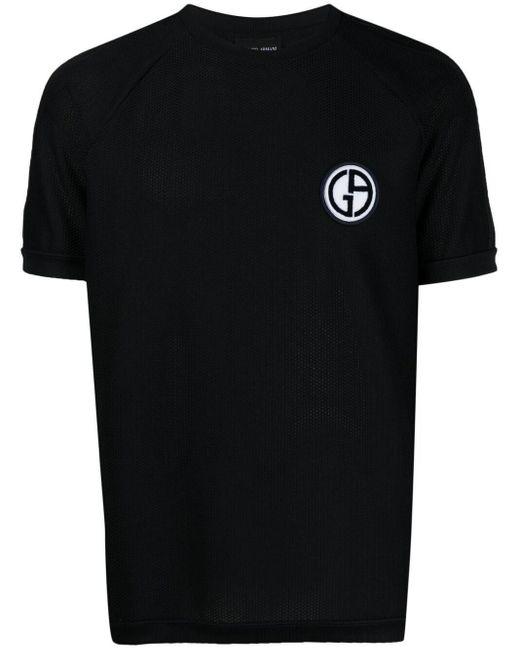 メンズ Giorgio Armani ロゴパッチ Tシャツ Blue