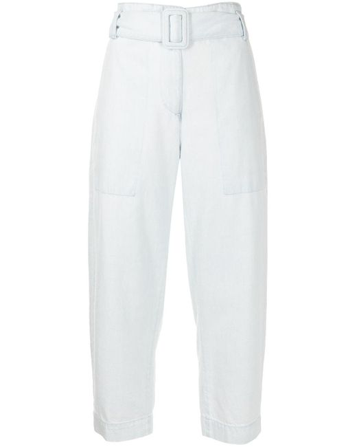 PROENZA SCHOULER WHITE LABEL ベルテッド クロップドパンツ Blue