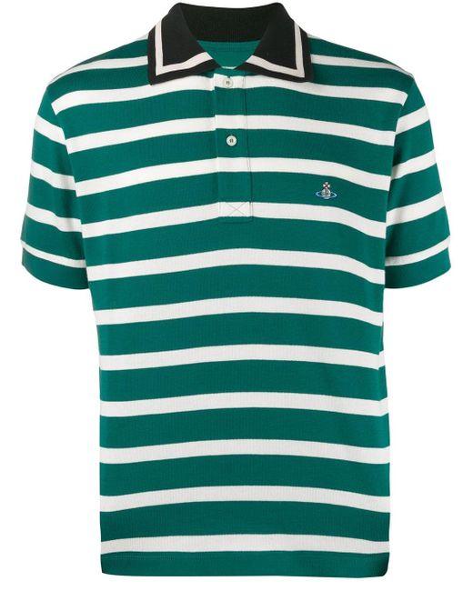 メンズ Vivienne Westwood ストライプ ポロシャツ Green