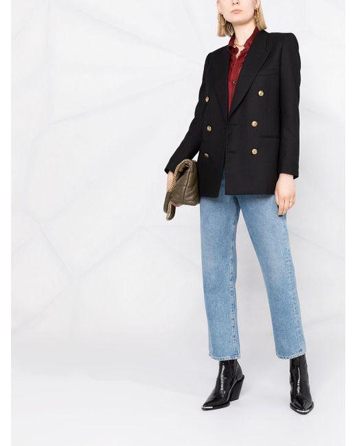 Blazer con doble botonadura Saint Laurent de color Black