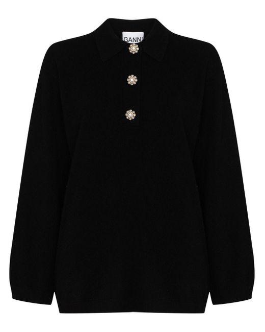 Кашемировый Джемпер С Пуговицами-кристаллами Ganni, цвет: Black