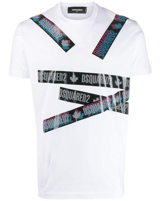 メンズ DSquared² ロゴ Tシャツ White