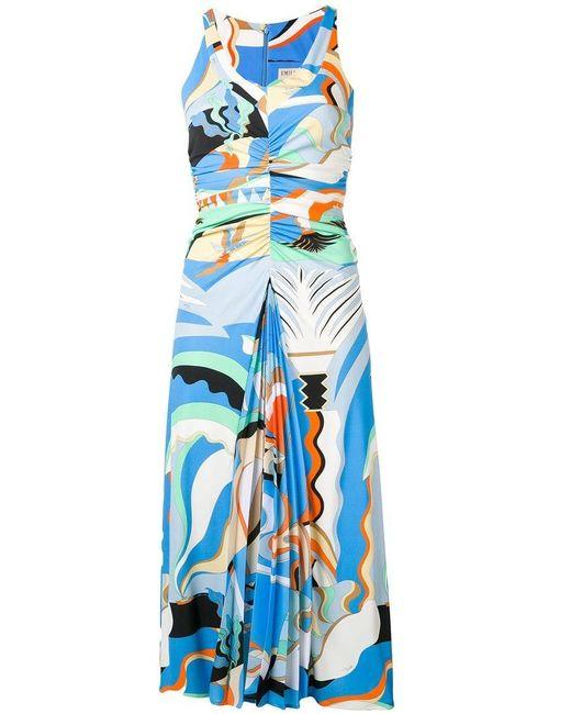 35efdedc89ea Emilio Pucci - Blue La Villa Print Gathered Midi Dress - Lyst ...