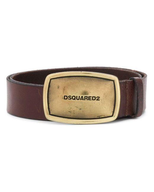 メンズ DSquared² ロゴバックル ベルト Brown