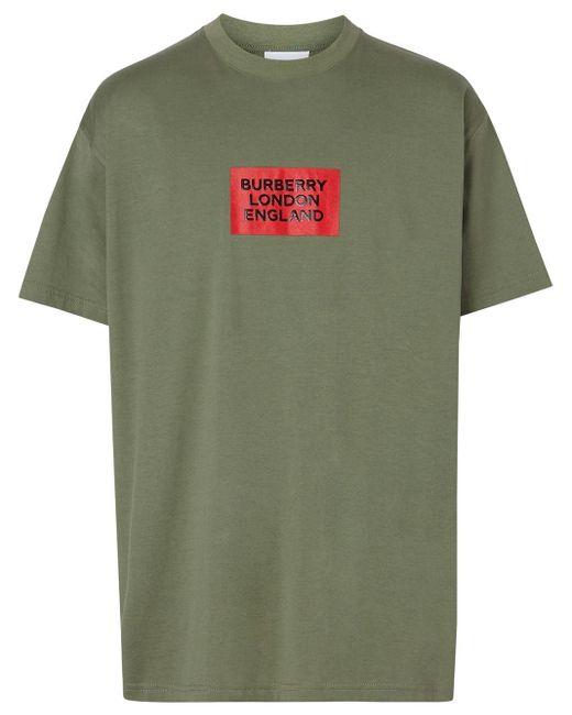 メンズ Burberry オーバーサイズ ロゴ Tシャツ Green