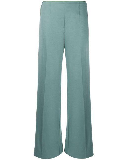 Forte Forte Pantalones rectos de talle bajo de mujer de color azul