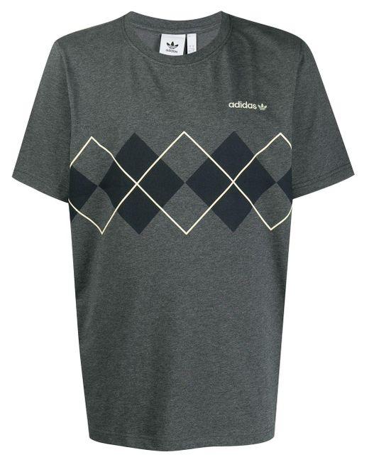 メンズ Adidas Originals アーガイルプリント Tシャツ Gray