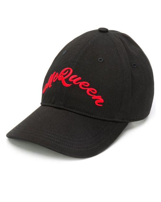 Бейсбольная Кепка С Вышивкой Alexander McQueen для него, цвет: Black