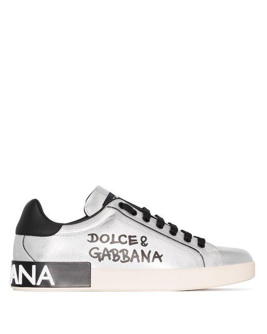 Кожаные Кроссовки Positano Dolce & Gabbana для него, цвет: Metallic