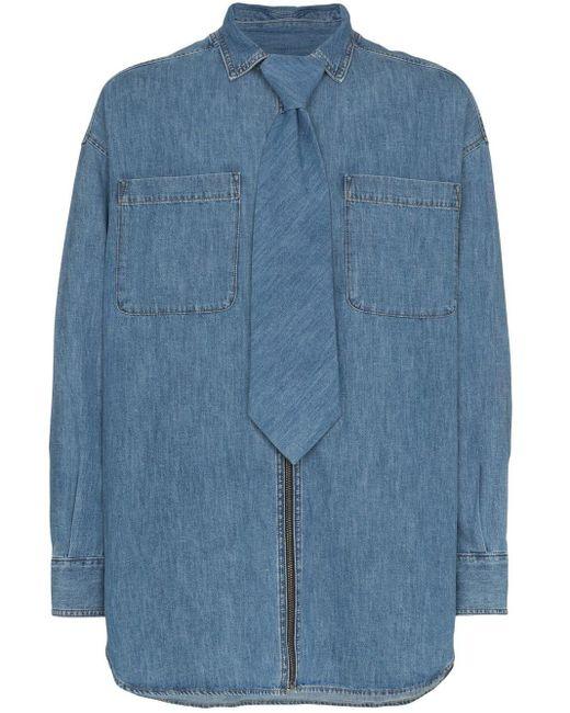 メンズ Diesel Red Tag Denim Zip-up Shirt With Detachable Tie Blue