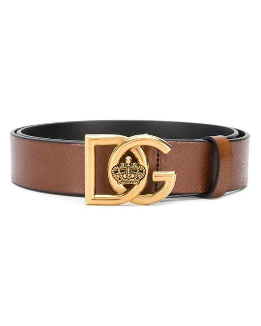 Ceinture à boucle logo Dolce & Gabbana pour homme en coloris Brown