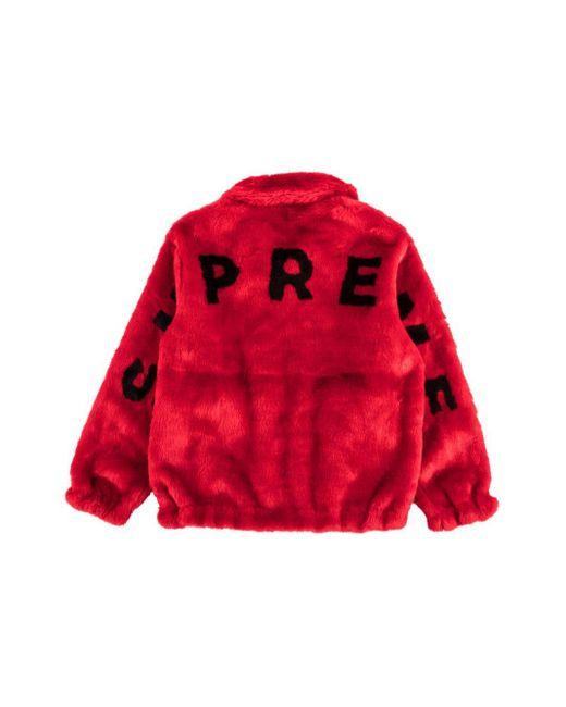 メンズ Supreme ロゴ ボンバージャケット Red
