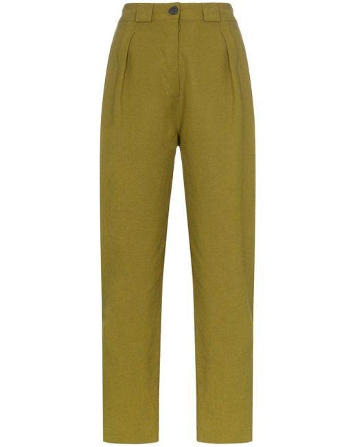Mara Hoffman Pantalones Jade rectos de talle alto de mujer de color verde