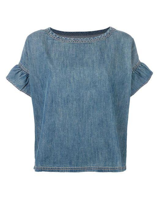 Current/Elliott - Blue Alexis Ruffle Shirt - Lyst