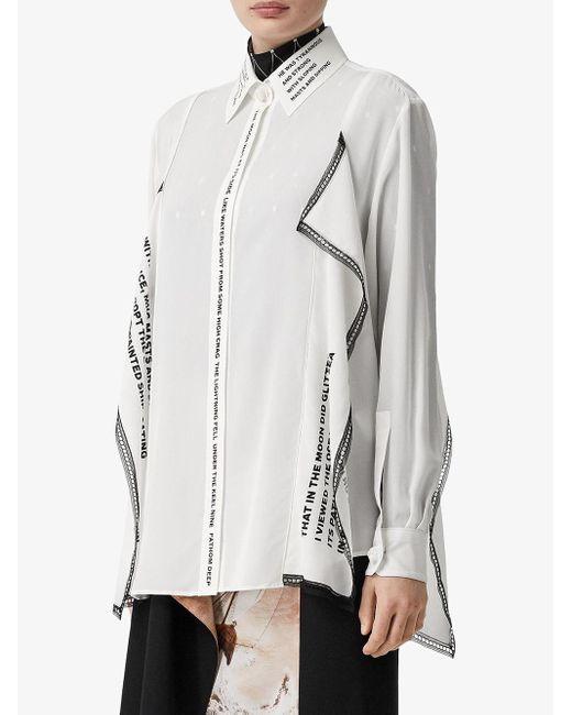 Camisa oversize estampada Burberry de color White