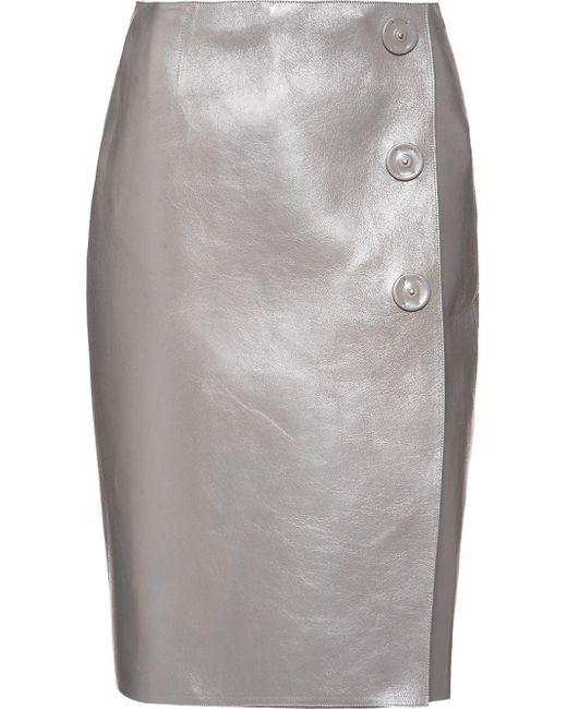 Falda de talle alto Prada de color Gray