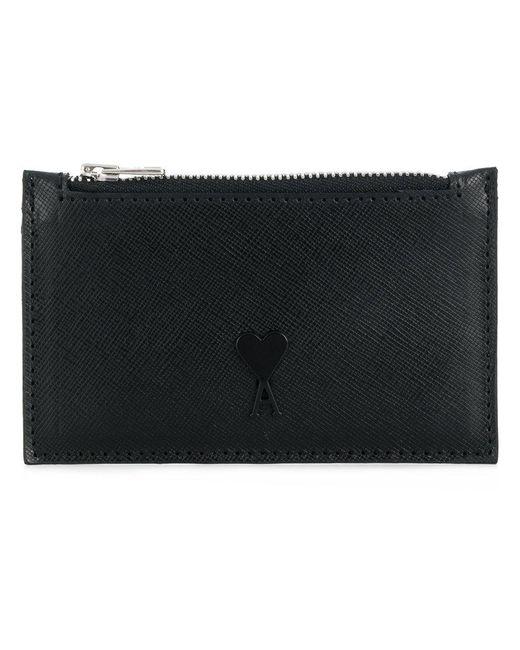 AMI - Black Zipped Cardholder for Men - Lyst