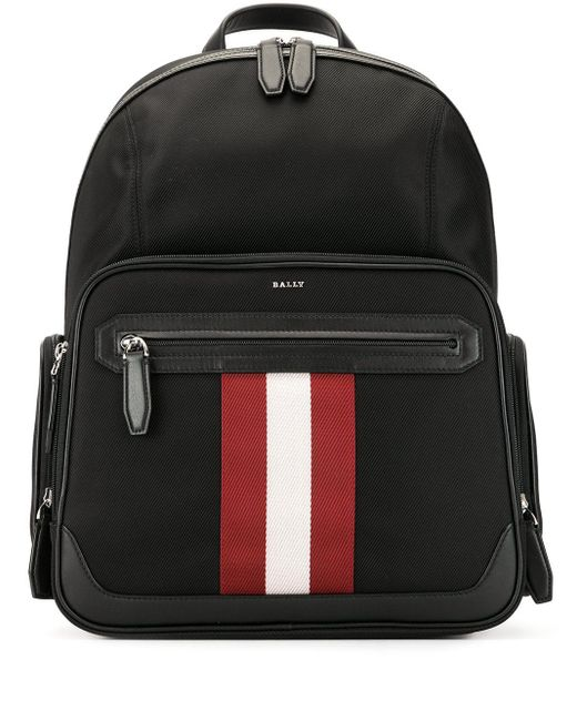 Bally Black Striped Detail Backpack for men