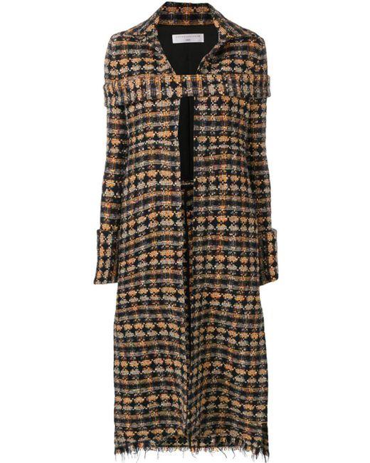 Abrigo largo de tweed Victoria Beckham de color Black