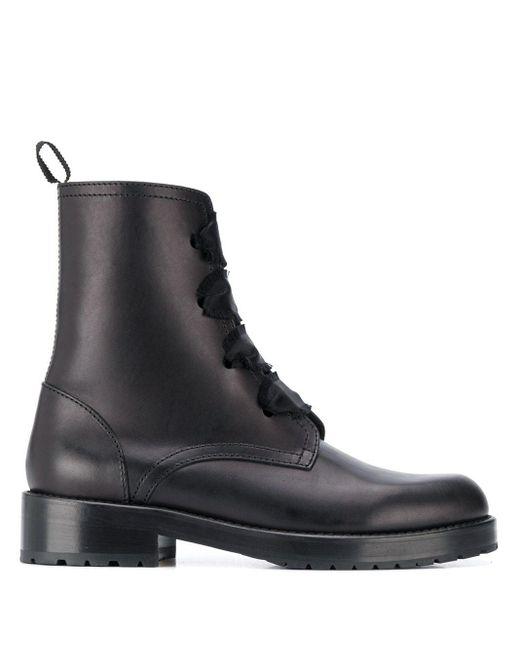Ботинки В Стиле Милитари На Шнуровке С Бахромой RED Valentino, цвет: Black