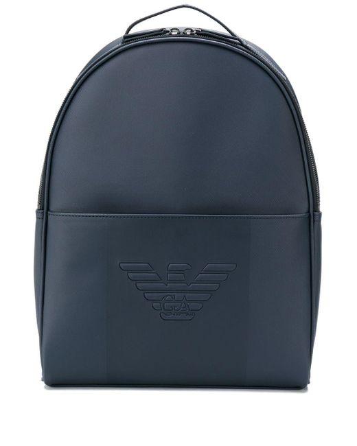 メンズ Emporio Armani ロゴ バックパック Blue