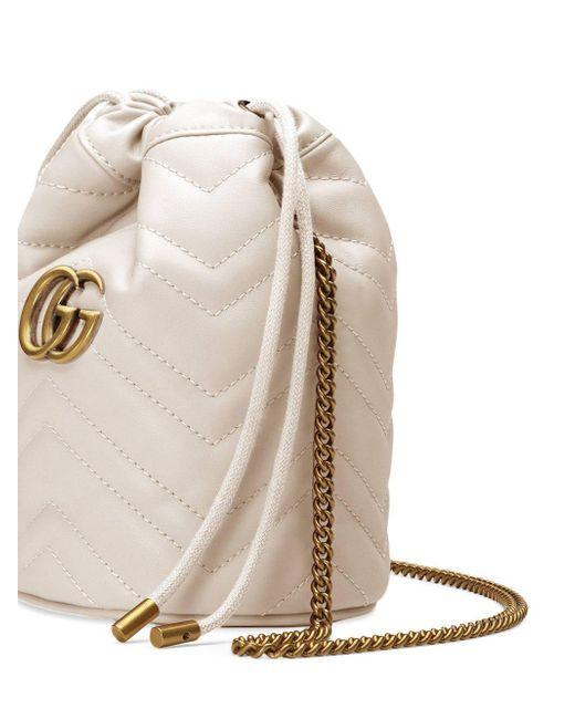 Gucci White GG Marmont Mini-Bucket Bag