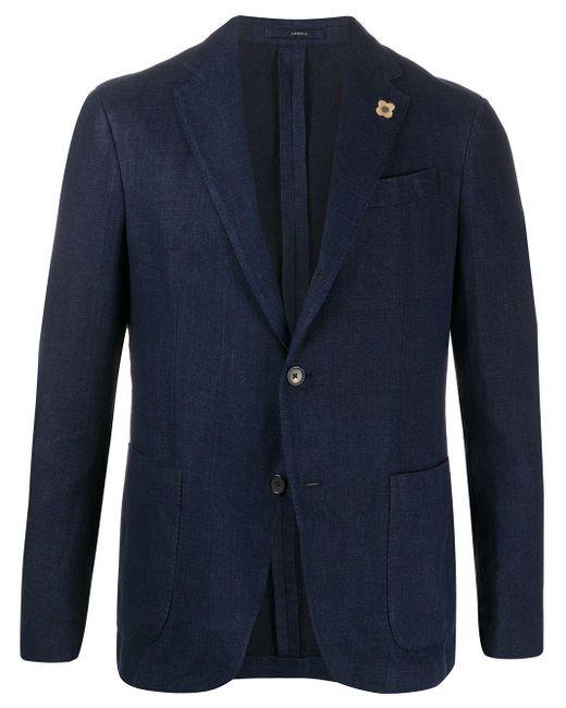 メンズ Lardini デニム シングルジャケット Blue