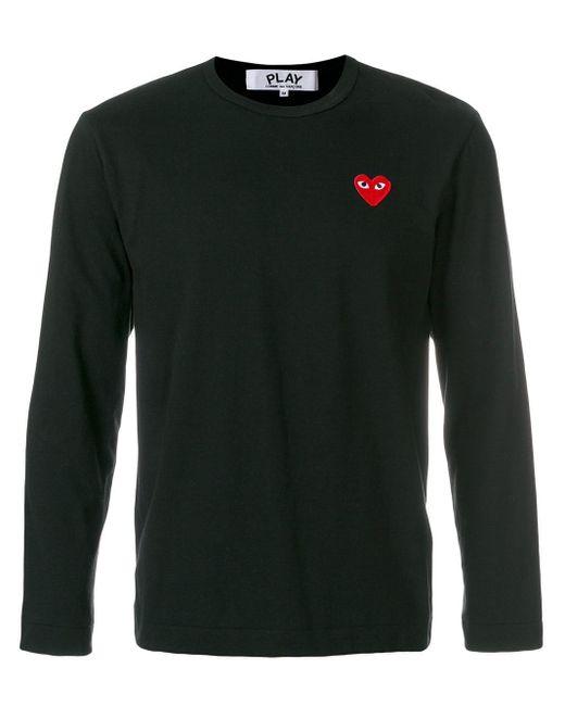 メンズ COMME DES GARÇONS PLAY ハート ロングtシャツ Black