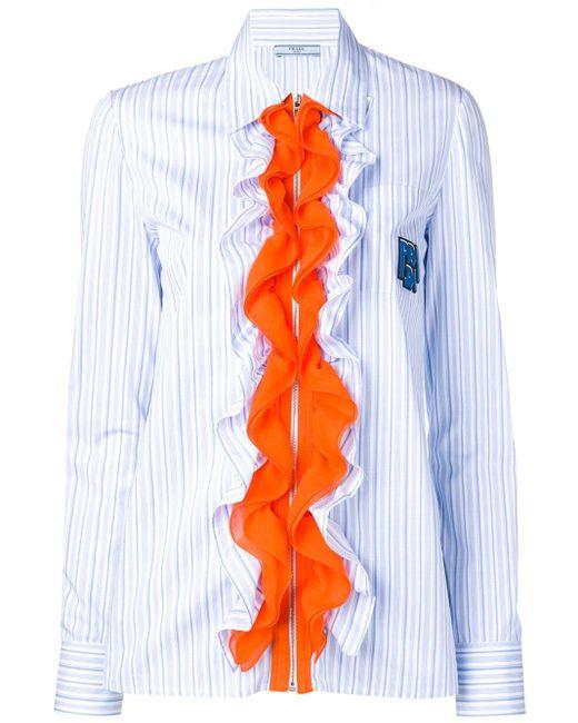 Chemise à volants Prada en coloris Blue