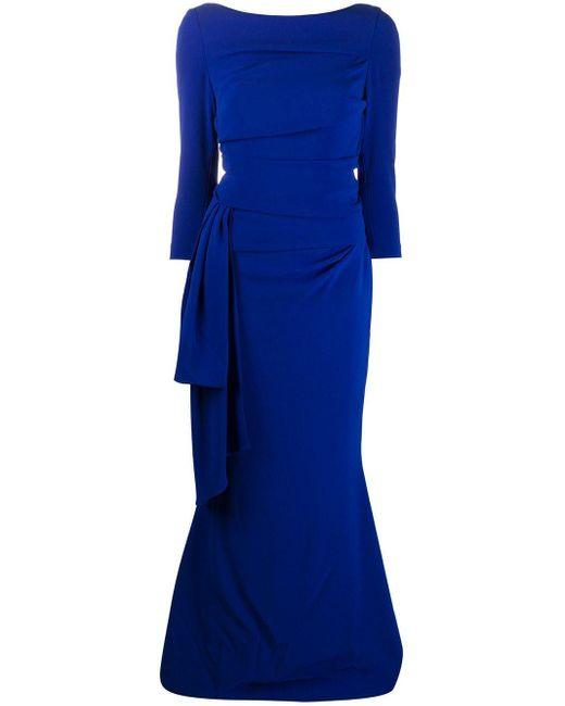 Talbot Runhof リボン ドレス Blue