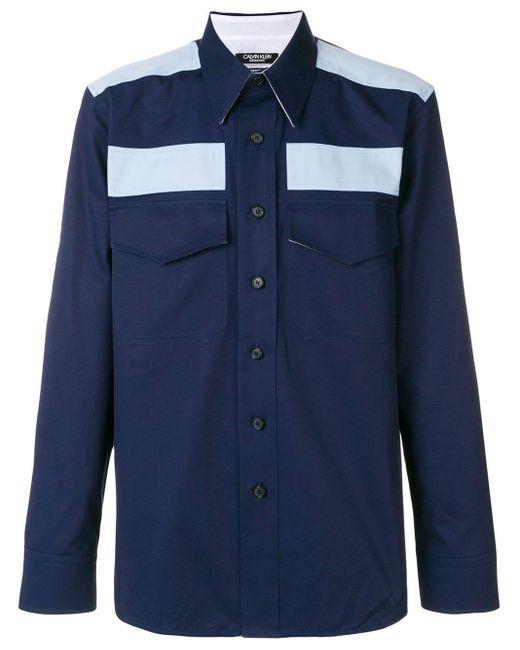 メンズ CALVIN KLEIN 205W39NYC カラーブロック シャツ Blue
