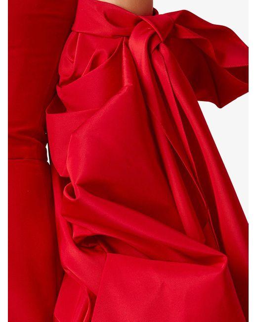 Carolina Herrera ドレープ シルクドレス Red